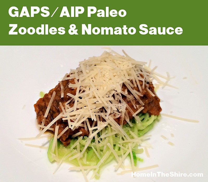 Zoodles and Nomato Sauce – Grain-Free, GAPS and Paleo AIP Friendly Dinner